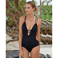Fashion Swimsuit Sexy Ladies Deep V neck Halter One Piece Bl...