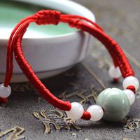 productos naturales hechos a mano Birmania jade jadeíta solo anillo cadena de pulsera de hilo rojo de las mujeres de las perlas de 14 mm de loto hombres y