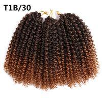 Красота 8-12 дюймов кудрявый вьющиеся крючком волос синтетические плетение наращивание волос Marleybob крючком косы 60 пряди / УП