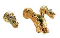 Gratis schip antieke messing / 24k gouden pvd draak ontwerp wijdverspreide badkamer toilet gootsteen kraan wandgemonteerde draak handgrepen