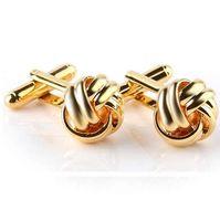 Nudo de alta calidad de los gemelos para los hombres camisa de las mancuernas de oro plateado de negocios boda de los novios franceses camisa marca gemelos