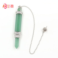 xinshangmie 2018 Nuevo Natural Verde Aventurina Lápiz Punto Reiki Curación Cristal Pendulum Colgante Chakra Meditación Varita