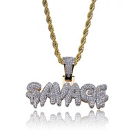Iced Out SAVAGE Pendant Necklace with Rope Chain Gold Color ...
