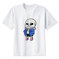 4b8d284ba7 undertale Chibi Sans TShirt hombres niño Summer O cuello blanco juventud  camiseta casual print blanco anime