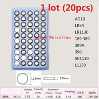 20pcs 1 lot AG10 LR54 LR1130 189 389 389A 390 SR1130 L1130 1.55V alkaline button cell battery coin batteries tray package Free Shipping