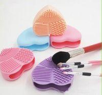 Makyaj Fırça Temizleme Mat Temizleyici Silikon Kalp Şeklinde Kozmetik Fırça Scrubber Kurulu Yıkama Pedi Makyaj