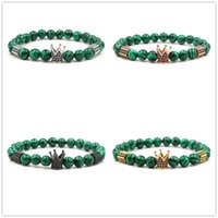 4 couleurs 10 MM Zircon Couronne Charmes Vert Paon Pierre Perles Bracelet Argent Or Rose Or Yoga Pulseira Feminina Bouddha Bijoux
