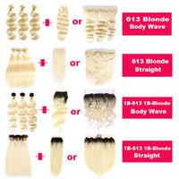 Loira 1B / Loira Extensão de Cabelo Humano do Virgin Brasileiro 613 1B-613 onda de corpo direto Ombre Ombre Bundle de cabelo Ofertas com fecho de cabelo frontal