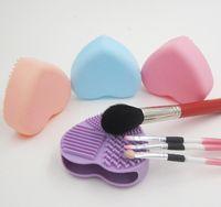 Pinceau de maquillage tapis de nettoyage nettoyant silicone en forme de coeur brosse cosmétique brosse conseil de lavage pad de maquillage outil 5 couleur pour choisir DHL