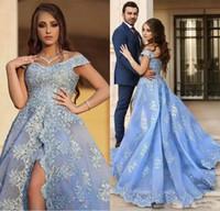 2018 Luz Azul Árabe Vestidos de Noite Mulheres Rendas Applique Sexy Alta Fenda Vestidos de baile Personalizado Robe De Soirée Longue vestidos de Festa