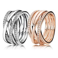 30% 925 Silver Rose Gold Entwining Rings With Crystal For Wo...