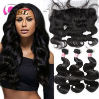 3 Bundles Body Wave Hair With Frontal Natural Black Brazilia...