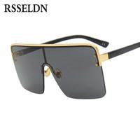 RSSELDN Gafas de sol cuadradas extragrandes Mujer Hombre Diseñador de marca  clásico Marrón Negro Gafas de sol semi sin montura Señoras Goggle UV400 7cbda94c589d