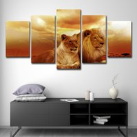 Wall Art Canvas HD Prints Pictures 5 штук Sunset King of the Forest Lions Paintings Home Decor Гостиная Плакаты