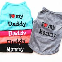 Moda Pet Puppy Summer Shirt Pet Dog Cat Pet Clothes Mommy Daddy Vest T Shirt 5 colori