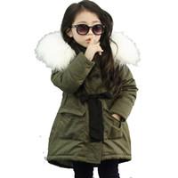 Marca coreana de las muchachas de los niños chaquetas de piel falsa cuello del abrigo de invierno Outwear niños de 3-11 años de edad 1 semana de antelación bajo precio
