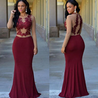 Free Shipping Graduation Dresses Long Sleeves Burgundy Formal Evening Dresses Jewel Appliques Mermaid Modest Arabic Prom Party For Woman