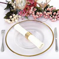 Fornitore cinese all'ingrosso Decorazione di nozze Piatto di ricarica in vetro trasparente con bordo in oro