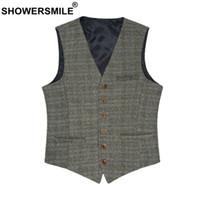SHOWERSMILE Homme Costume Gilet British Gilet Vintage Tweed Vest Printemps Automne Taille Plus Hommes Marque Woollen 3XL Veste sans manches