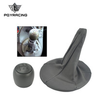 PQY - 5 Speed Car Gear Shift Knob with PU Leather Gear Shift...