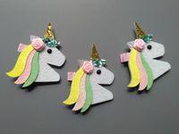 Butik 20 adet Moda Sevimli Keçe Çiçek Unicorn Kızlar Tokalar Kawaii Katı Çiçek Glitter Alınan At Saç Klipleri Başlık Aksesuarları