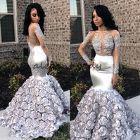 Silver Lace Stain 3D Floral Mermaid Prom Pageant Dresses with Long Sleeve 2018 Sheer Neck Sexy African Trumpet Evening Wear Gowns