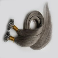 Gray Pre Bonded 100% Remy Human Fusion pelo recto europeo Keratin U Tip pelo 100 unids / pack Pre Bonded Hair Extension