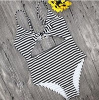 Striped Women swimwear swimsuit sexy 2018 New bandage Push u...