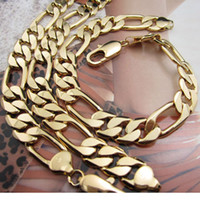 Mens Necklace Bracelet Set Chain Heavy Solid 18k Yellow Gold...