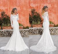 Vintage robe de mariée en dentelle pleine dentelle illusion manches longues à l'épaule dentelle arrière-plan balayage robe de mariée de sirène