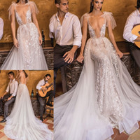 2018 Berta Bridal Lace Wedding Dresses Overskirts Sexy Merma...