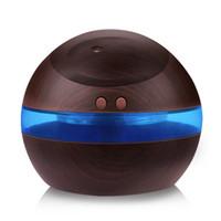 USB ultrasone luchtbevochtiger, 300 ml aroma diffuser etherische olie diffuser aromatherapie mist maker met blauw LED-licht (donker hout)