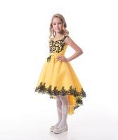 Güzel Sarı Tül Jewel Aplike Diz Çiçek Kız Elbise Kız 'Pageant Elbiseler Tatil / Doğum Günü Elbise / Etek Özel Boyut 2-14 DF710353