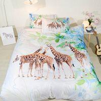 Fanaijia 3d жираф постельные принадлежности queen size мультфильм пододеяльник набор с наволочка king queen Bedline лучший подарок кровать