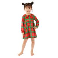 Nueva llegada Vestidos para niñas Niños Rojo y verde Cuadrícula Vestidos de manga larga Moda Navidad Ropa para niños