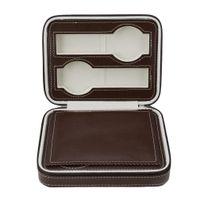 OUTAD portátil 4 grades caixa de relógio de couro Travel Watch caso de armazenamento saco organizador com zíper acessório