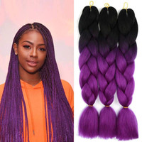 Ombre Kanekalon Braiding Hair braid 100g piece Synthetic Two...