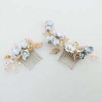 Encantador Azul Flor Cabelo Pente De Noiva Pinos Pérolas Handmade Jóias Do Casamento Cabelo Vinha Acessórios Mulheres Headpiece
