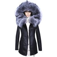 Toptan-Fabrika Doğrudan Tedarikçi Kış Ceket Kadın Palto kalın Yapay Moda Ince Süet Kadın Modelleri deri Tilki Kürk Yaka h1z1