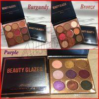 Beauty Glazed 9 Color Shimmer Glitter Polvo presionado Paleta de sombra de ojos Borgoña Bronce Púrpura Maquillaje Cosméticos Sombras de ojos