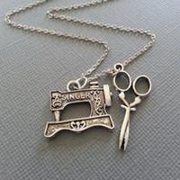 ожерелье всей канализации saleThe-швейная машина и ножницы в античном серебре