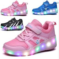 2018 new shoes single pulley boys and girls flash switch LED...