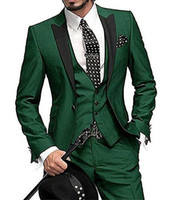 High Quality One Button Smoking dello sposo verde scuro Sposo bavero sposi Mens Wedding Prom Abiti da sposa (giacca + pantaloni + Vest + Tie) NO: 1288
