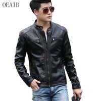 Оптовая продажа-OEAID мотоцикл кожаная одежда Мужская 2017 Новая весна и осень кожаная куртка мужчины короткие тонкий кожаный пальто мужчины верхняя одежда черный
