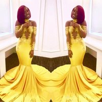 New Elegant Yellow Off the Shoulder Lace Prom Dresses 2018 F...