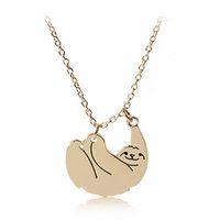 الأزياء الحيوان الكسل القلائد المعلقات للنساء سبائك الفضة 18 كيلو الذهب مطلي قلادة رابط سلسلة مجوهرات صديق هدية عيد الحب