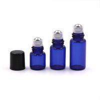 1 2 3 ML Miniglas Roll on Parfümflasche nachfüllbare Edelstahl-Rollen-Kugel Ätherisches Öl Flüssigkeit Flasche Mit Black Cap Mini Probe Phiole