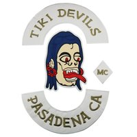 새로운 TIKI DEVILS PASADENA CA 엠씨 바이커 해골 자수 Mc 오토바이 클럽 로커 버트 톰 로커 큰 백 패치 자켓 조끼 해골 패치 F