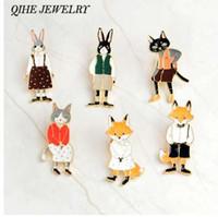 QIHE JEWELRY 핀 및 브로치 토끼 / 여우 / 고양이 커플 에나멜 핀 배지 모자 배낭 액세서리 연인 보석 연인을위한 선물