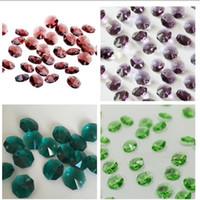 200 stks 2 Gat 14mm Clear Crystal Glass Octagon Beads Crystal Kroonluchter Lamp Onderdelen Prism Lighting Home Accessoires